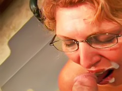 Mature cum shot, Mature oral cum, Glasses blowjob, Glass cum shot, Cocksucking, Mature glasses