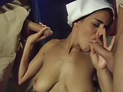 Two handjobs, Two guys, Titfuck cum, Titfuck, Masturbation double, Maid sex
