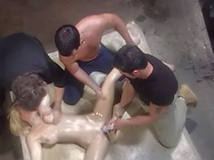 Tits gangbang, Tits cum shot, Pussy big tits, Pussy cum shot, Sweating, Masturbation double