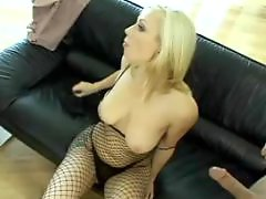 Threesome blonde blowjob, Pale anal, Pale, N iñas anal, From behind anal, Fishnet anal