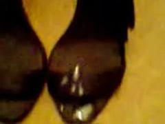 Satin, On male, High heels solo cum, Black heels solo, Satine, Satin cum