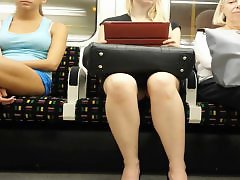 Upskirt train, Stockings upskirt, Stocking upskirt, On train, Train, Morning
