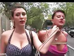 Public bondage, Lesbian bound, Outdoor bound, Outdoor bondage, Bondage outdoor, Bound lesbian
