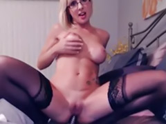 Webcam dildo blonde, Busty dildo