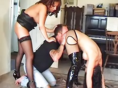 Tits smothering, Tit smother, Rimming threesome, Stockings boots, Sex by stocking, Smothering femdom