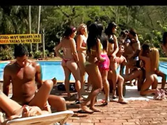 Pool side, Pool bikini, Stockings group, Side fuck, Latin group sex, Black pool
