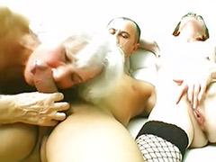 Tits granny, Tits granni, Redhead granny, Redhead busty, Grannies threesome, Grannies blowjob