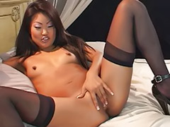 Solo stocking asian, Asian with black, Asian stocking solo, Asian solo dildo, Asian stockings dildo