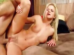 Blond slut masturbates