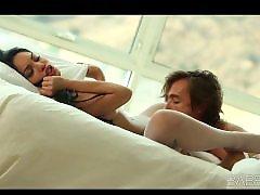 Stunning, Lingerie tease, Lingerie, Bed, Lingerie teasing, In her bed