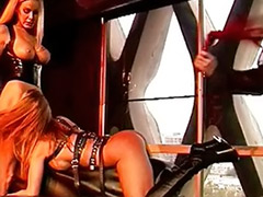 Threesome bondage, Spanking strap on