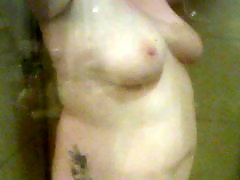 Showering, Shower, Fun, German chubby, German bbw, German amateur chubby