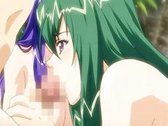 Hentai babe, Bikini threesome, Big tits hentai, Big tits bikini