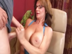 Brunettes glasses, Big titted handjob