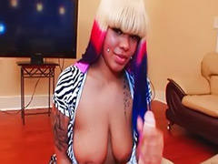 Jerking with hair, Handjob busty, Ebony busty, Busty jerk, Busty handjob, Busty ebony