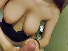 Titfuck, Toilet sex, Toilet blowjob, Russian sex, Russian masturbate, Russian blonde