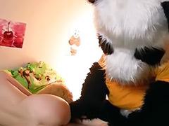 Panda, Solo redheaded teen, Funny, Panda sex, Funny sex, Bears