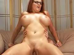 Redhead milf big tits, Glasses milf, Glass cum shot, Glasses facial, High heels milf