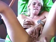 Mature blond handjob