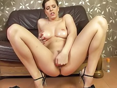 Solo in heels, Solo big tits heels, Masturbating in heels, Oiled tits, Oiled squirt, Oiled solo