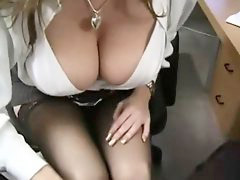 Office, Big, Big tits, Stockings