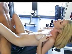 All licking, Cum out, Work sex, Work out, Blond slut masturbates