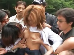 Outdoor groped, Outdoor gangbang, Japanese groped, Japanese blonde, Groping, Groped asians