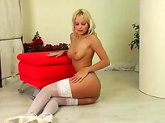 Tanning, Tanned, Tan stockings, Tan stocking, Tan blonde, Toys