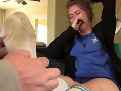 Tickling, Tickled, Tickle, Teen foot, Teen feet, Sock foot