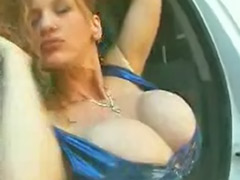 Redhead slut, Solo car, Huge breast, Huge tits solo masturbation, Big tits breaste, Big huge breast