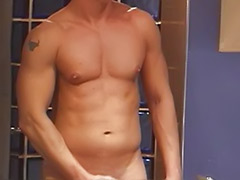 Ripping, Ripped, Rip, Masturbation in bathroom, Male dude, Male wank cum