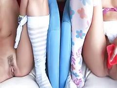 Striptease lesbians, Slim girl, Lesbian striptease, Lesbian in lingerie, Lesbian and girl toy, Slim lesbian