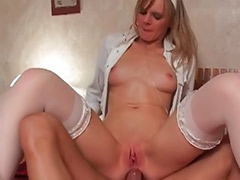 Lick her ass, French stockings anal, French stockings, French ass, Blond slut masturbates