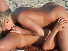 Kissing blond lesbians, Shaved blonde babe, Sex beach, Lesbian beach, Beach sex, Beach masturbation