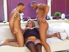Two stocking, Two guys, Two matures, Sex by stocking, Mature tits cum, Mature stockings oral cum