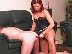 Redhead anal toying, Spanking strap on, Slave masturbate, Slave anal, Femdom slave, Femdom cummings