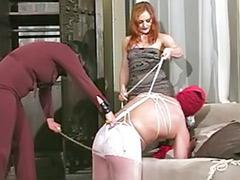 Threesome bondage, Tortures, Torture, Redhead pantyhose, Redhead black, Pantyhose threesome