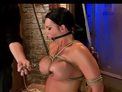 Tied tits, Tits tied, Brunettes in bondage, Big ties, Big clits, Big clit masturbation