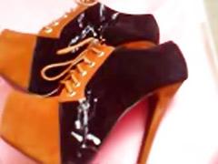 On male, High heels solo cum, Cum again, Cum on heels