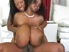 Two ebony blowjob, Ebony busty, Enjoy guy, Busty ebony