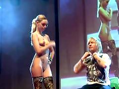 Public blonde, Stage, On stage, Hot babe, Female, Femal