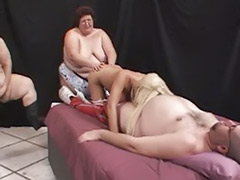 Tits gang bang, Titfuck gangbang, Mature gang, Mature first, Mature deepthroat, Mature blond fat