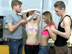 Two teens, Two sex, Two guys, Two blowjob, Teen group sex, Fucks two guys
