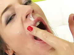Threesome cum swallowing, Seriousness, Deepthroat swallow, Deepthroat cum swallowing